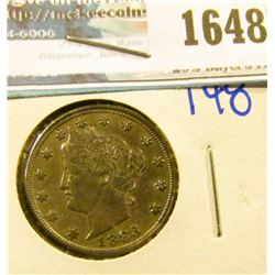 1648 _ 1883 V Nickel With No Cents