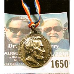 1650 _ Vintage 1909 Abraham Lincoln Medal With Ribbon Commemorating 100th Anniversary Of His Birth