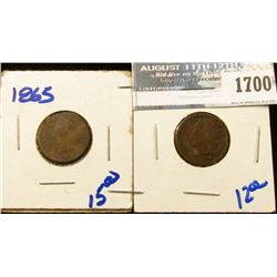 1700 _ 1909 And 1865 Indian Head Cents
