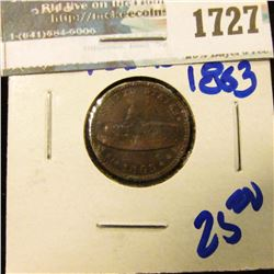 1727 _ 1863 Civil War Token With Army And Navy On The Reverse