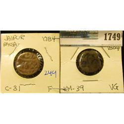 1749 _ (2) Coins From India - Jaipur Paisa .  One Is Dated 1784 C-31.  The Other Is Jaipur Paisa 180