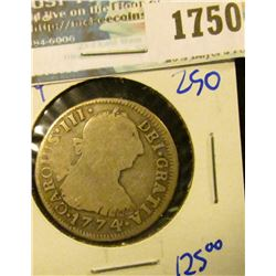 1750 _ Spanish Colonies- Bolivia- Silver 1774 2 Reales- Km Number 53