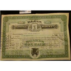 """1753 _ Stock Certificate for 100 Shares of """"Elgin National Watch Co."""" dated July 23, 1927."""