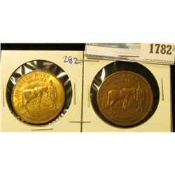 1782 _ Two Green River Whiskey Good Luck Tokens