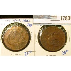 1783 _ 1837 And 1852 Canadian One Penny Bank Tokens.  The 1852 Is Commonly Referred To As The Dragon