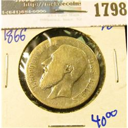 1798 _ Belgium Silver 2 Francs Coin Dated 1866 With Leopold The Second On The Front