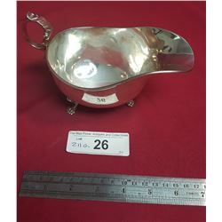 Sterling Gravy Boat, Three Pawed Feet, Scrolled Handle