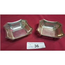 Two Pierced Square Sterling Candy Dishes