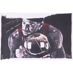 LeBron James Signed LE Heat  Magic Moment  16x24 Lithograph Inscribed  2012 NBA Champs  (UDA COA)