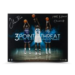 """Glen Rice Signed Hornets """"Three Point Threat"""" 16x20 Photo Inscribed """"1995 3 Point Champ"""" LE 41 (UDA"""