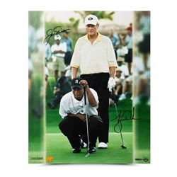 "Jack Nicklaus  Tiger Woods Signed ""Match Play"" 16x20 Photo (UDA COA)"