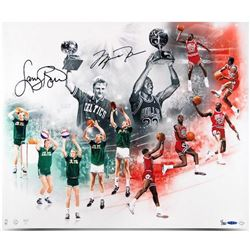 "Michael Jordan  Larry BIrd Signed ""All-Star"" LE 20x24 Metallic Photo (UDA COA)"