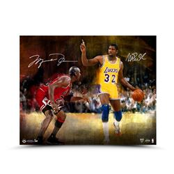"Michael Jordan  Magic Johnson Signed ""Match Up"" LE 16x20 Aluminum Print (UDA COA)"