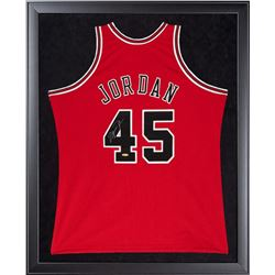 Michael Jordan Signed Bulls 32x44 Custom Framed  Mitchell  Ness Jersey Display (UDA COA)