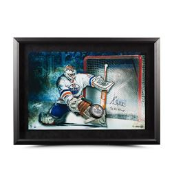 "Grant Fuhr Signed Oilers ""Save"" 16x24 Custom Framed Hockey Puck Break Through Display Inscribed ""5x"
