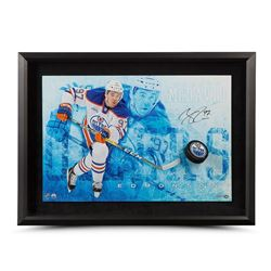"Connor McDavid Signed Oilers ""Commanding"" 16x24 Custom Framed Hockey Puck Break Through Display (UDA"