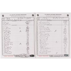 Lot of (2) Signed NHL Club Playing Rosters with Wayne Gretzky  Mike Babcock (NHL COA)