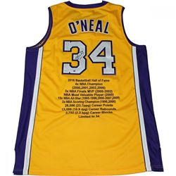 Shaquille O'Neal Signed Limited Edition Lakers Career Highlight Stat Jersey #34/34 (Steiner COA)