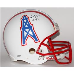 "Earl Campbell Signed Oilers Full-Size Authentic Pro-Line Helmet Inscribed ""HOF 91"" (Steiner COA)"