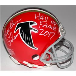 "Morten Andersen Signed Falcons Mini Helmet Inscribed ""Hall of Fame 2017"" (Radtke Hologram)"