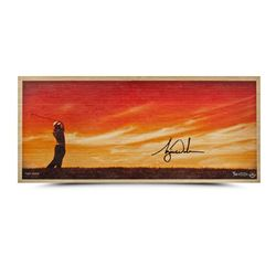 """Tiger Woods Signed """"Perfecting The Craft"""" LE 11x26 Bamboo Print (UDA COA)"""