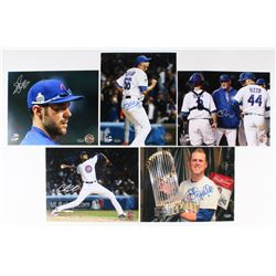 Lot of (5) Signed Cubs 8x10 Photos with Hector Rondon, Matt Szczur, Chris Bosio (Schwartz COA)