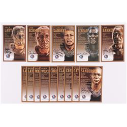 Lot of (14) Lions LE Bronze Bust Football Hall of Fame Postcards with (8) Unsigned Postcard,  (6) Si
