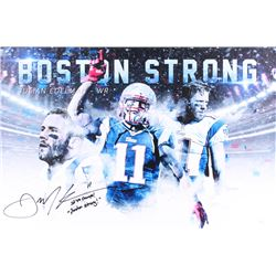 """Julian Edelman Signed Patriots 30"""" x 20"""" Giclee on Canvas Inscribed """"SB 49 Champs!""""  """"Boston Strong"""""""