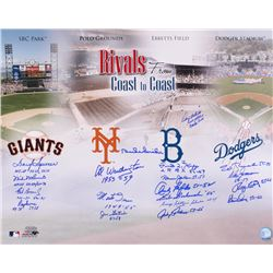 Coast to Coast Rivals 16x20 Photo Signed by (19) with Duke Snider, Monte Irvin, Don Zimmer, Johnny P