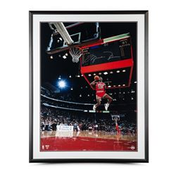 "Michael Jordan Signed Bulls ""1988 Scoreboard Dunk"" 30"" x 40"" Custom Framed Photo Display (UDA COA)"