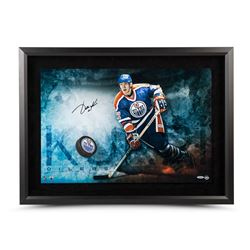 "Jari Kurri Signed Oilers ""Slap Shot Breaking Through"" 16"" x 24"" Custom Framed Hockey Puck Display (U"