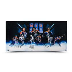 "Wayne Gretzky, Paul Coffey  Jari Kurri Signed Oilers 18"" x 36"" Photo (UDA COA)"