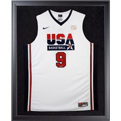 "Michael Jordan Signed Team USA LE 32x44 Custom Framed Jersey Display Inscribed ""HOF 2009"" (UDA COA)"