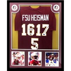 Charlie Ward, Chris Weinke  Jameis Winston Signed Florida State Seminoles 34x42 Custom Framed Jersey