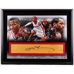 "Allen Iverson Signed 76ers 28"" x 36"" LE Custom Framed Game-Used Floor Board Display (UDA Hologram)"