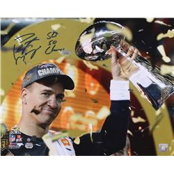 Peyton Manning Signed Broncos  Super Bowl 50 Celebration  16x20 Photo Inscribed  SB 50 Champs  (Stei