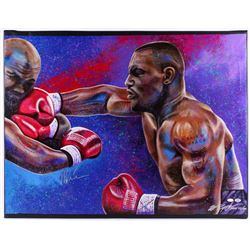 "Mike Tyson Signed 35x43 Bill Lopa Hand-Embelished Giclee on Canvas ""AROC #44/44"" (JSA  PSA COA)"