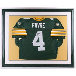 "Brett Favre Signed Packers 35"" x 43"" Custom Framed Jersey Display (JSA ALOA)"