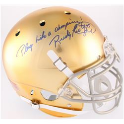 """Rudy Ruettiger Signed Full-Size Notre Dame Fighting Irish Authentic On-Field Helmet Inscribed """"Play"""