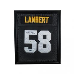 "Jack Lambert Signed Steelers 23x27 Custom Framed Jersey Inscribed ""HOF 90"" (Lambert Hologram  Radtke"