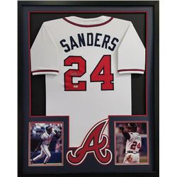Deion Sanders Signed Braves 34x42 Custom Framed Jersey (Radtke COA)