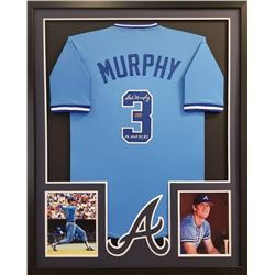 "Dale Murphy Signed Braves Throwback 34x42 Custom Framed Jersey Inscribed ""NL MVP 82, 83"" (Radtke COA"