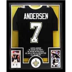 "Morten Andersen Signed Saints 34"" x 42"" Custom Framed Career Highlight Stat Jersey (Radtke COA)"