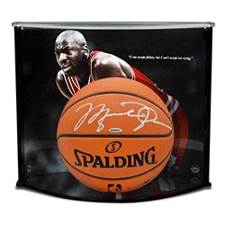 "Michael Jordan Signed Official NBA Game-Ball with Custom ""Failure Quote"" Large Curve Display (UDA CO"