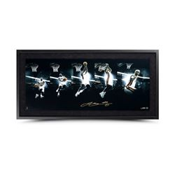"LeBron James Signed ""Art of the Dunk"" 15x36 Custom Framed Limited Edition Photo (UDA)"