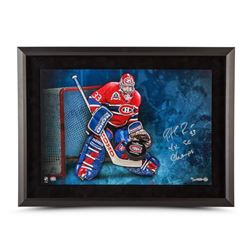 "Patrick Roy Signed Canadiens 16x24 Custom Framed Limited Edition Photo Inscribed ""4x SC Champs"" (UDA"