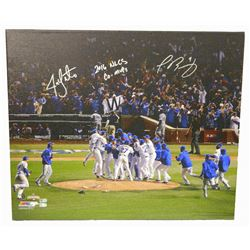 "Jon Lester  Javier Baez Signed Cubs 20x24 Photo on Canvas Inscribed ""2016 NLCS Co-MVPs"" (MLB  Fanati"