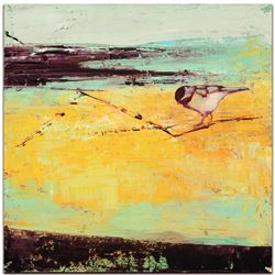 """Bird on a Horizon"" 22x22 LE Contemporary Wall Art on Metal by Janice Sugg"