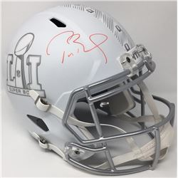 "Tom Brady Signed LE ""Super Bowl 51"" Custom Matte White ICE Full-Size Speed Helmet (Steiner COA)"