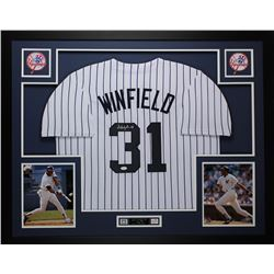 Dave Winfield Signed Yankees 35x43 Custom Framed Jersey (JSA COA)